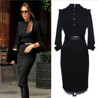 Autumn Winter 2014 New Fashion Europe Women Long Sleeve Vintage office Ladies Bodycon Casual Black Pencil Dress Plus Size S-XL