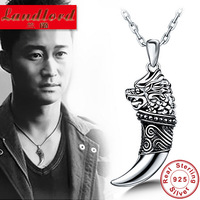 Hot Sale 100% Real Pure 925 Sterling Silver Men jewelry Dragon with wolf teeth necklaces & pendants Thai silver jewelry MD001