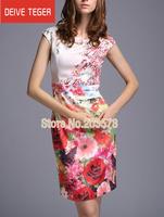 (DEIVE TEGER)Free Shipping 2014  hot sell Print flower  sleeveless  lady Pencl Dress evening dress summer dress white DML06