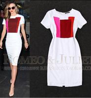 Free shipping New 2014 women Celebrity Brand Plus Size S-L Button Short Sleeve Elegant Knee-Length Stretch Bodycon Formal Dress