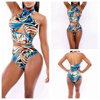 2014 Summer New Triangle Cut Out Sexy Swimsuit Flower Print Bikini Set Bandage Sexy Bathing Suit Swimwear Push Up Beach Wear