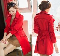 Plus Size S-XXXL Khaki,Red,Blue Free Shipping 2015 New Korean Fashion Spring Autumn Women Elegant Trench Coat Casual Dustcoat