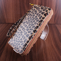 3 colors leopard PU leather long women clutch wallets with zipper casual purses for women cheap new 2014