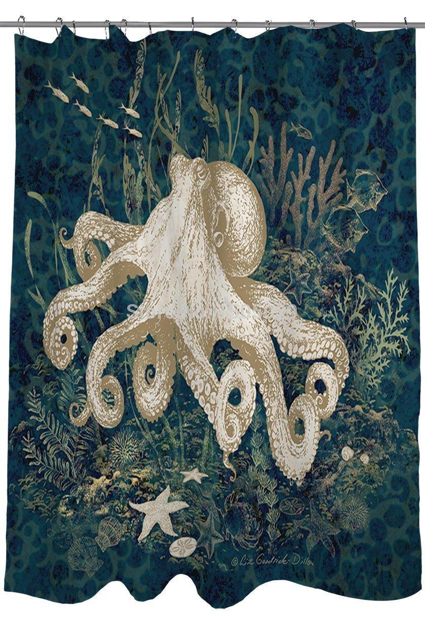 thomas paul octopus shower curtain kraken shower curtain octopus ...