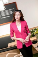 Solid solid women jackets and blazers green, yellow, blue, black, red blazer women M/L/XL Free shipping