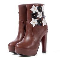 Spring/Autumn New 2015 Ankle Boots For Flower Side Zipper Thick Heel Round Toe Platform Martin Boots Women Shoes Platform Pumps