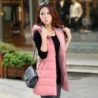 Free shipping women's designer The new Korean winter increased thickening hooded down coat of long slim female vest waistcoat