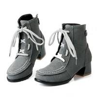 повезло, что Брендовые женские шпильки мотоциклов мото загрузки натуральная кожа ботильоны для женщин плоский каблуки осенние сапоги размер 35-43 черный/красный