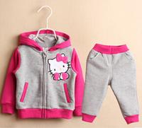 sp20 hello kitty design 1-5 age girls clothing sets casual kids pants + jacket free shipping 5pcs/ lot