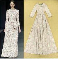 High Brand Designer Runway Long Maxi Dress 2014 Autumn Winter Womens Long Sleeve Vintage Print Peter Pan Collar Prom Party Dress