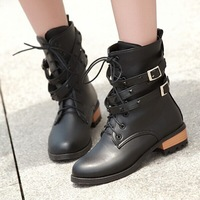 Free Shipping New 2015 Autumn Women's Platform Fashion High-heeled Boot Female Thick Heel Shoes Martin Boots lady White Black