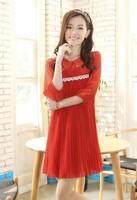 free shipping! female fashion peter pan collar dress ladies' summer plus size clothing girl's chiffon pleated dress