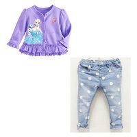 6set/lot wholesale purple denim 2pcs set gril kids cardigan dot pants casul long sleeve child clothes sets
