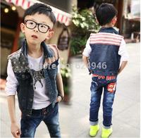 Hot selling !!!Spring 2014 new boys big  child spell color denim vest jacket fashion