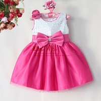 Christmas Flower Girl Dress Hot Pink Polyester Sequin Girls Party Dresses With Bow Baby Princess Clothes For Toddle GD40814-21