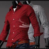 Men's Fashion Casual Checkered Button Up Long Sleeve Shirt Men's Top