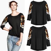 2014 Autumn New Fashion Women T-Shirt Tiger Head Print Crew Neck Long Sleeve Casual Loose Tops Black blusas femininas