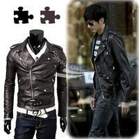 New Mens PU Leather Slim Fit Punk Zip Motorcycle Biker Jacket Trench Coat M-XXL