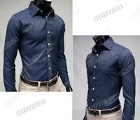2013 New Fashion Men's Stripe Stylish Casual Slim Fit Long Sleeve Dress Shirts 2Color Black Blue M/L/XL/XXL free shipping