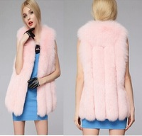 free shipping pink white color Autumn and winter imitation fur vest, thick warm soft plush vest,long sleeveless jacket
