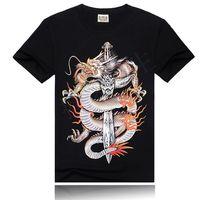 2014 Black Mens Digital 3D Printed Shorts Sleeve Cotton T Shirts Dragon Sword Print T-shirt Tee Blouses Tops Large Size ST02B16