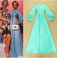 High Brand Europe Designer Runway Floor Length Maxi Dress 2014 Autumn Women's Dot Print Lantern Sleeved Cute Long Evening Dress