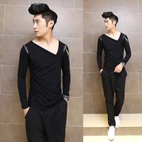 Free shipping! New listing nightclub hairstylist shoulders zipper decoration fashion long-sleeved T shirt