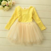 New 2014 Autumn girls fashion print dress baby girls long sleeves tutu party dress 5pcs/lot 3 colors