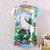 2014 Fashion Vintage Spring Summer Women Short Sleeve Unicorn Graphic Print White T Shirt Blouse Tops Printing Blouses ST02A40