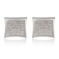 15mm large luxury mens women Pave Setting swiss AAA+ SQ CZ diamond Stud Earrings 18K white / yellow gold square Earrings