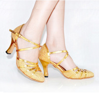 Qiao's spot gold glitter modern shoes female companionship dance shoes square dancing shoes with
