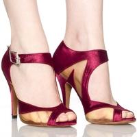 Qiao's genuine Fuchsia Satin Latin dance shoes women's high-heeled shoes dancing ballroom dancing shoes soft bottom
