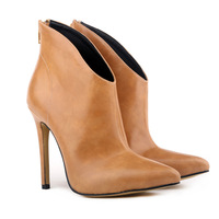 2014 Autumn New Models Of High-end Women's Shoes Boots With Single- pointed Boots Naked Boots
