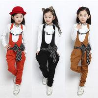 2 Pieces Clothing set ! 100% Cotton Children Girls Autumn Outfits Princess Casual Suit Big Bowknot Belt Suspender Trousers