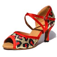 Smart people leopard Sequin ladies adult Latin dance shoes square