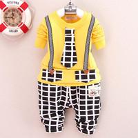 Korean Style Children t shirt + Plaid Pants 2pcs Kids Clothes Sets Children Clothing Set Baby Boy Sports Suit