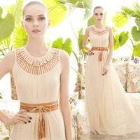 summer dress 2014  Fashion ultra long paragraph one-piece dress o-neck chiffon one piece maxi dress free shipping
