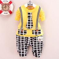 Wholesale Children t shirts with tie + Plaid Pants 2pcs Kids Clothes Sets Children Clothing Set Baby Boy Tracksuits