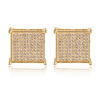 High transparent luxury mens women Micro-pave swiss AAA+ CZ diamond SQ Stud Earrings 18K white / yellow gold square Earrings