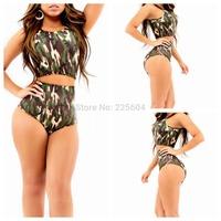 2014 Sexy Women Swimwear Vintage Bandage Swimsuit Army Green High Waist Girl triangle Bikini brazilian Bikinis Set Bathing Suits