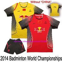"Without ""CHINA"", 2014 Badminton World Championships Chinese Uniforms , LI-NING Badminton clothes Mens , badminton shirts"