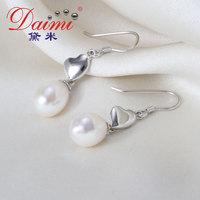 DAIMI Heart Earrings Tear Drop Pearl Earring 8-9mm Natural White Freshwater Pearl Sterling Silver Earring