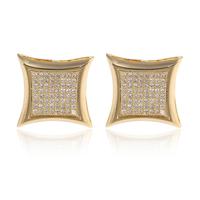 High quality mens women Micro-pave swiss AAA+ 15mm SQ CZ diamond Stud Earrings 18K white / yellow gold square Earrings
