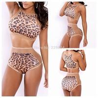 Women Swimwear Vintage Bandage Bodycon Swimsuit Leopard Mesh Patchwork High Waist Girl triangle Bikini brazilian Bikinis Set