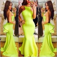 2014  Fall New European Fluorescent green sexy open back floor length long swallowtail dress SJ1112