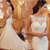 New Arrival Royal Lace Bride Wedding Dress Chain Design Sexy Backless Mermaid Wedding Dress Plus Size Zipper Close