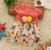 new 2014 children girl pink fuchsia yellow flower print short sleeve sweater dress kids girls princess dresses clothes lot