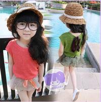 Free shipping 2014 Retail female children V leading children Knitted Blouse T-shirt on behalf of