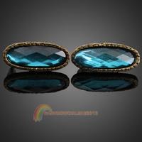 R1B1 Pair of Blue Oval Artificial Crystal Stud Earrings Ear Pins Eardrops Decor