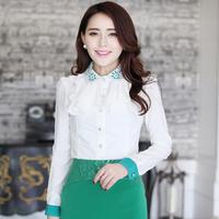 2014 spring fashion slim turn-down collar long-sleeve chiffon shirt women's long-sleeve shirt 8898
